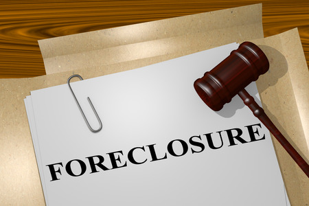 repossession: 3D illustration of FORECLOSURE title on legal document Stock Photo