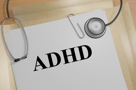 hyperactivity: 3D illustration of ADHD title on a document