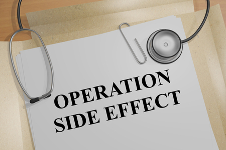 surgeon mask: 3D illustration of OPERATION SIDE EFFECT title on medical document Stock Photo