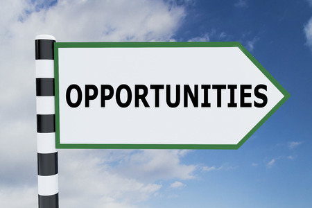 job opening: 3D illustration of OPPORTUNITIES script on road sign
