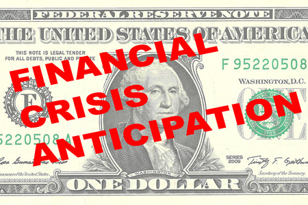 one dollar bill: Render illustration of FINANCIAL CRISIS ANTICIPATION title on One Dollar bill as a background