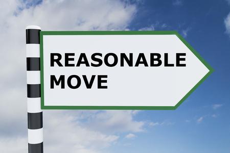 reasonable: 3D illustration of REASONABLE MOVE script on road sign