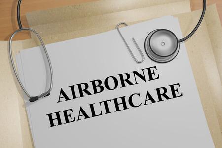 airborne: 3D illustration of AIRBORNE HEALTHCARE title on medical document