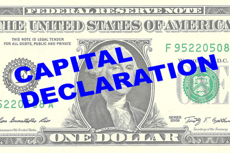 declare: Render illustration of CAPITAL DECLARATION title on One Dollar bill as a background