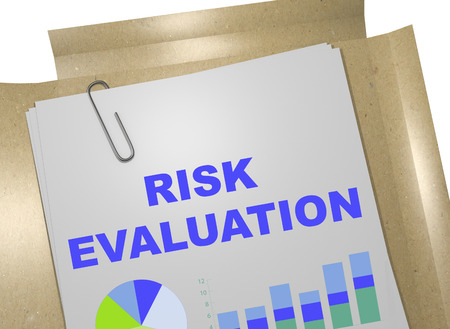 identify: 3D illustration of RISK EVALUATION title on business document