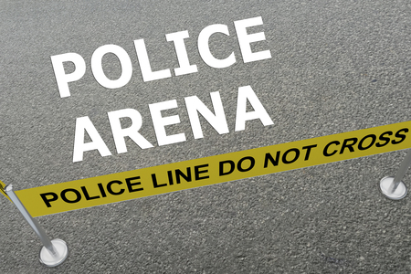 arena: 3D illustration of POLICE ARENA title on the ground in a police arena