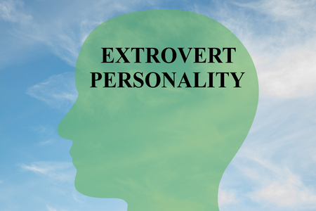 intuitive: Render illustration of EXTROVERT PERSONALITY script on head silhouette, with cloudy sky as a background. Stock Photo