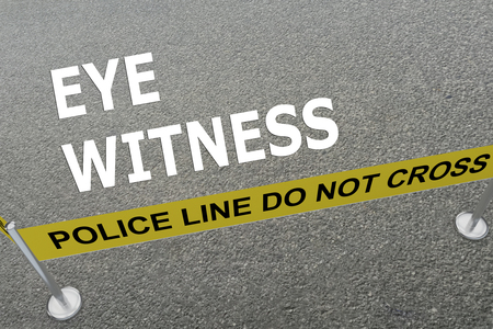 witness: 3D illustration of EYE WITNESS title on the ground in a police arena