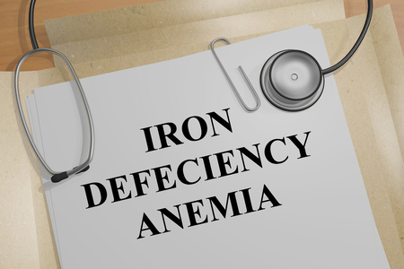 3D illustration of IRON DEFECIENCY ANEMIA title on medical document