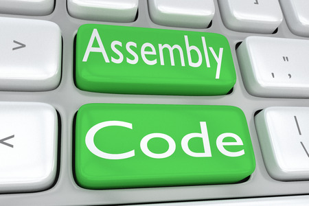 3D illustration of computer keyboard with the print Assembly Code on two adjacent green buttons Stock Photo