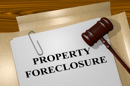 3D illustration of PROPERTY FORECLOSURE title on Legal Documents Stock Photo