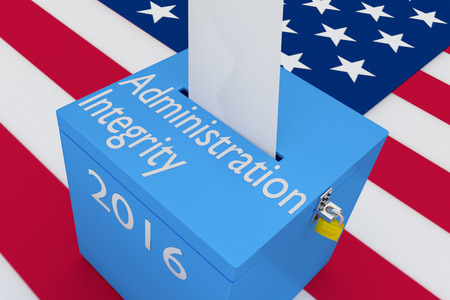 principled: 3D illustration of Administration Integrity, 2016 scripts and on ballot box, with US flag as a background.