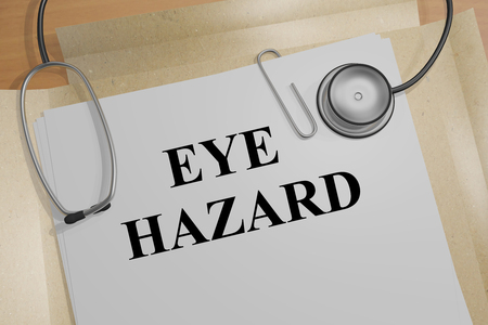 eye 3d: 3D illustration of EYE HAZARD title on medical document Stock Photo