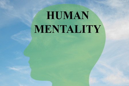 mentality: Render illustration of HUMAN MENTALITY script on head silhouette, with cloudy sky as a background. Stock Photo
