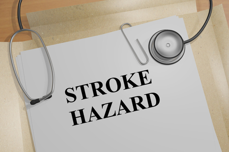 3D illustration of STROKE HAZARD title on medical document
