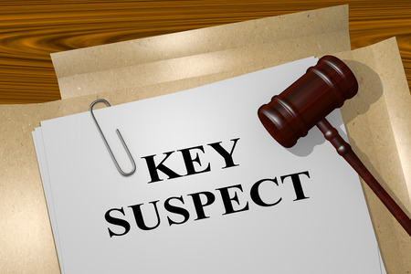 swindler: 3D illustration of KEY SUSPECT title on legal document Stock Photo
