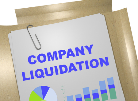 """3D illustratie van """"COMPANY liquidatie"""" titel op zakelijk document"""