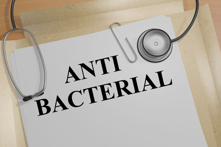 anti bacterial: 3D illustration of ANTI BACTERIAL title on a document