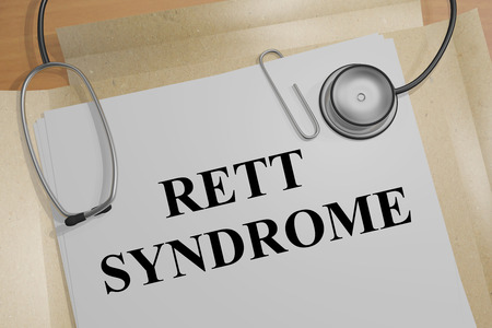 epilepsy: 3D illustration of RETT SYNDROME title on medical document Stock Photo