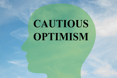 cautious: Render illustration of CAUTIOUS OPTIMISM script on head silhouette, with cloudy sky as a background. Stock Photo