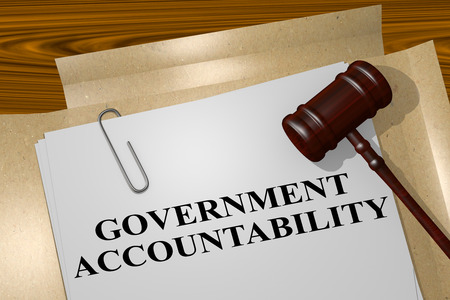 accountability: 3D illustration of GOVERNMENT ACCOUNTABILITY title on legal document