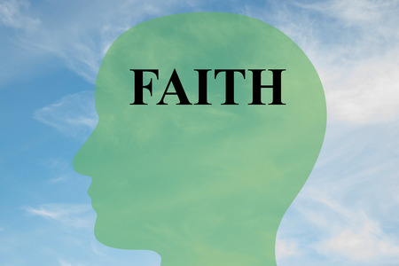 head massage: Render illustration of FAITH script on head silhouette, with cloudy sky as a background. Stock Photo