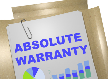 absolute: 3D illustration of ABSOLUTE WARRANTY title on business document