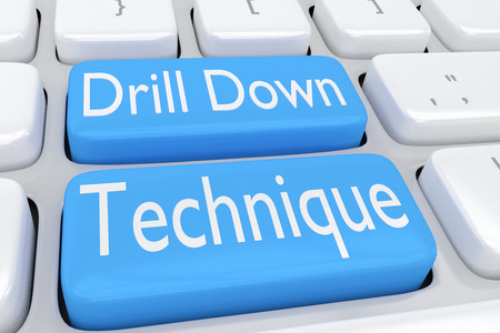 specific: 3D illustration of computer keyboard with the script Drill Down Technique on two adjacent pale blue buttons Stock Photo