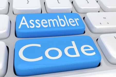 3D illustration of computer keyboard with the script Assembler Code on two adjacent pale blue buttons