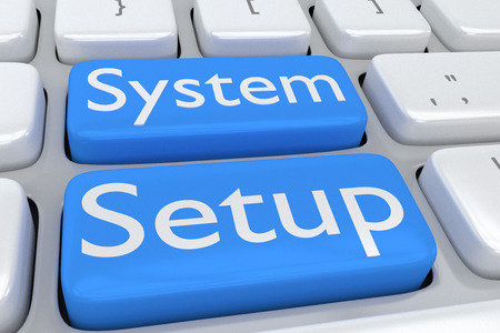 adjacent: 3D illustration of computer keyboard with the script System Setup on two adjacent pale blue buttons