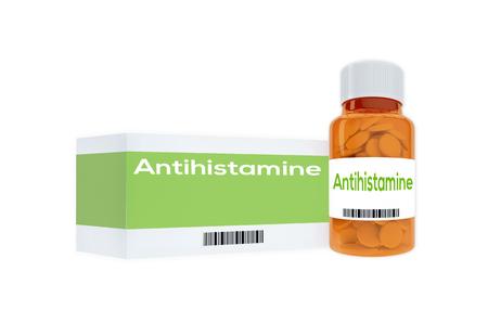 antihistamine: 3D illustration of Antihistamine title on pill bottle, isolated on white.
