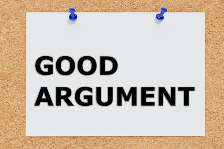 urging: 3D illustration of GOOD ARGUMENT on cork board Stock Photo