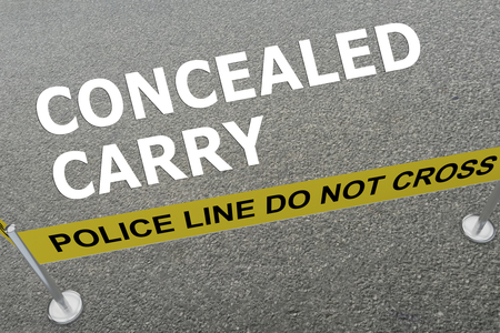 concealed: 3D illustration of CONCEALED CARRY title on the ground in a police arena Stock Photo