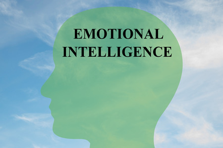 instinct: Render illustration of EMOTIONAL INTELLIGENCE script on head silhouette, with cloudy sky as a background. Stock Photo