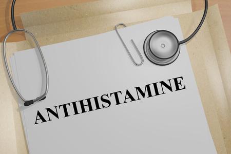 antihistamine: 3D illustration of ANTIHISTAMINE title on a document Stock Photo