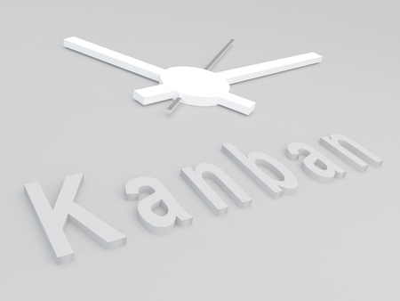 evolutionary: 3D illustration of Kanban title with a clock as a background Stock Photo