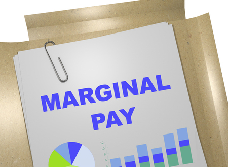 in common: 3D illustration of MARGINAL PAY title on business document