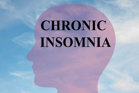disturbed: Render illustration of CHRONIC INSOMNIA title on head silhouette, with cloudy sky as a background. Stock Photo