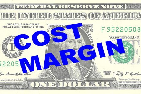 marginal returns: Render illustration of COST MARGIN title on One Dollar bill as a background Stock Photo