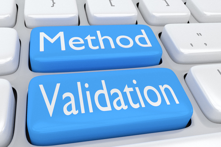 validation: 3D illustration of computer keyboard with the script Method Validation on two adjacent pale blue buttons Stock Photo