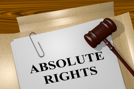 righteous: 3D illustration of ABSOLUTE RIGHTS title on legal document Stock Photo