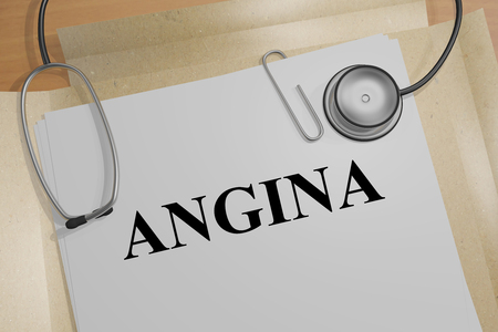 angina: 3D illustration of ANGINA title on medical document