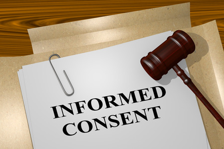 consent: 3D illustration of INFORMED CONSENT title on legal document