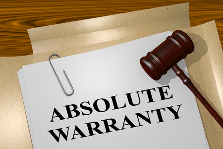 absolute: 3D illustration of ABSOLUTE WARRANTY title on legal document