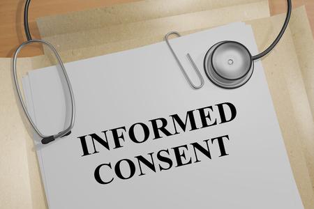 """Ilustración 3D del título de """"consentimiento informado"""" sobre el documento médico"""