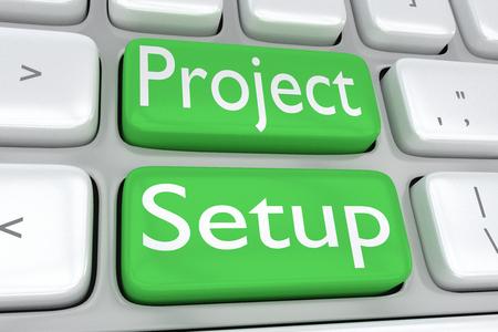"""3D illustratie van computertoetsenbord met de druk """"Projectopstelling"""" op twee aangrenzende groene knopen Stockfoto"""