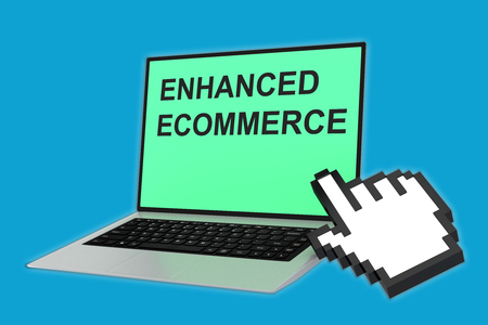 ambiguity: 3D illustration of ENHANCED ECOMMERCE script with pointing hand icon pointing at the laptop screen