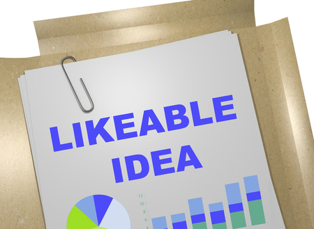 likeable: 3D illustration of LIKEABLE IDEA title on business document