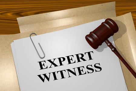 法的文書に「専門家の証人」タイトルの 3 D イラストレーション