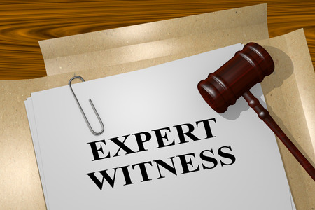 "3D illustration of ""EXPERT WITNESS"" title on legal document"